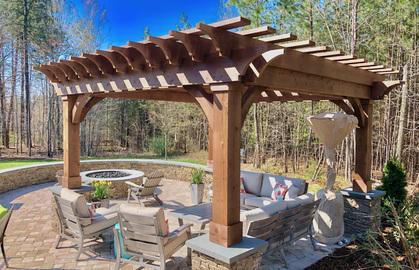 Pergola building service outdoor living area